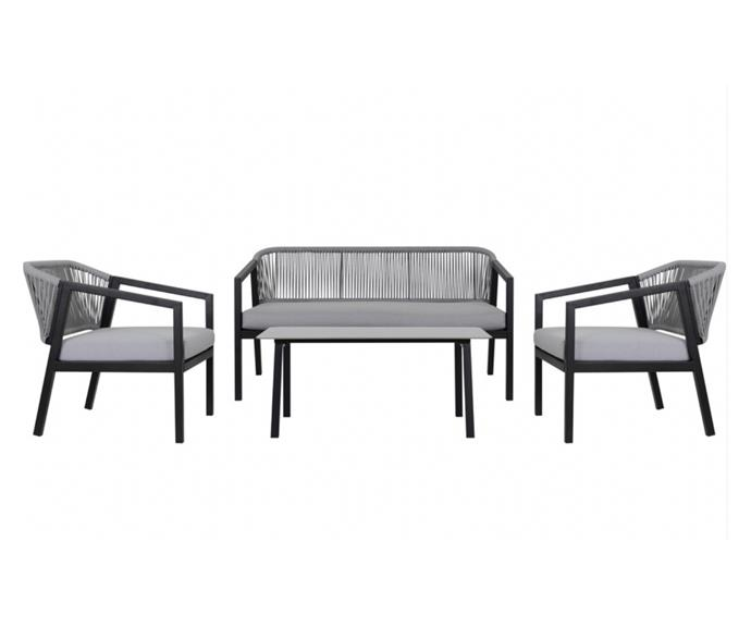 """Turn an unused patio into the ultimate outdoor lounge. The durable [House & Home 4-piece Lorne black rope outdoor lounge set, $499](https://www.bigw.com.au/product/house-home-4-piece-lorne-black-rope-outdoor-lounge-set/p/150646/ target=""""_blank"""" rel=""""nofollow""""), is a good place to start."""