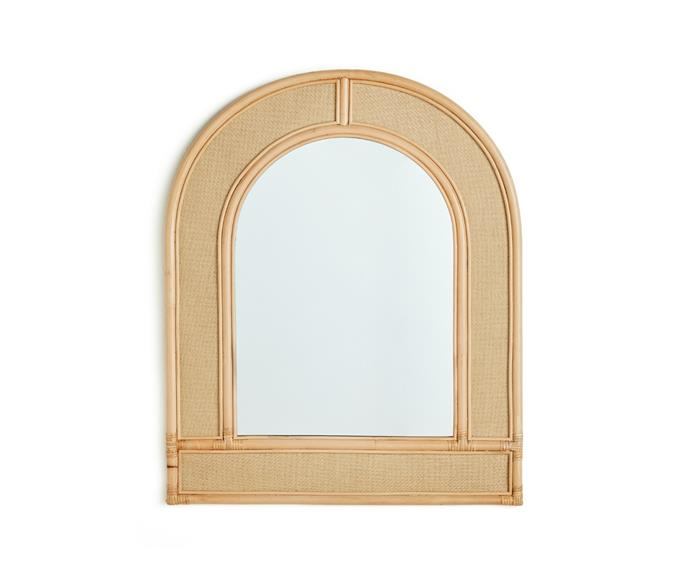 """See yourself in a new light by giving your entry hallway a makeover. Arches are one of the hottest interior trends right now, and the [Rattan arch frame mirror, $149](https://www.bigw.com.au/product/rattan-arch-frame-mirror/p/149734/ target=""""_blank"""" rel=""""nofollow"""") will help you channel the look with ease."""
