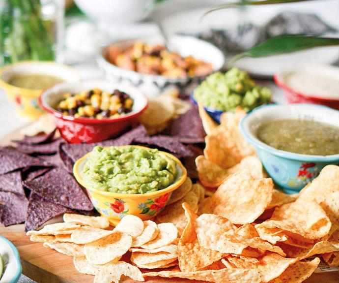 Decant dips into matching or colourful containers dotted throughout the grazing platter for a rainbow of temptation.