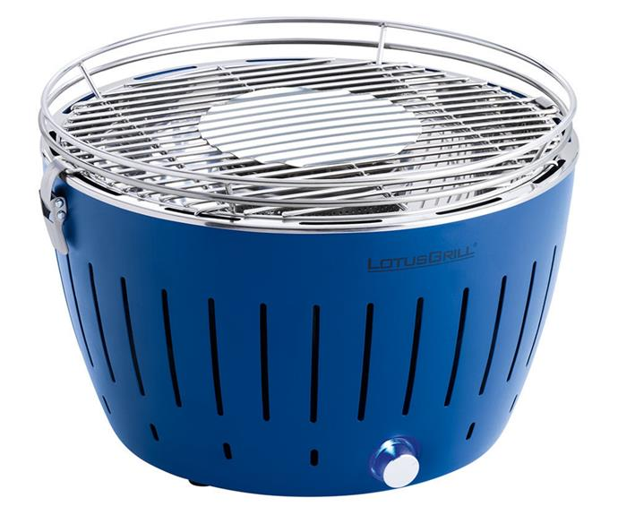 """**[Lotus Grill portable charcoal grill in blue, $325, Amara](https://www.amara.com/au/products/portable-charcoal-grill-blue target=""""_blank"""" rel=""""nofollow"""")** <br></br> The Lotus Grill is the ultimate tabletop grill. It features an in-built fan which means the coals reach optimum cooking temperature in less than five minutes. The double skinned bowl stays cool to the touch, so it's easy to handle and refill with coal at any time. Just remember to pack a set of 4x AA batteries to power the fan."""