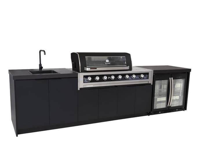 """**[Cabinex Galaxy black 6-burner kitchen package with Dekton benchtop, $10,449, Outdoors Domain](https://www.outdoorsdomain.com.au/products/cabinex-galaxy-black-6-burner-with-side-burner-kitchen-package-with-dekton-benchtop target=""""_blank"""" rel=""""nofollow"""")** <br></br> Say goodbye to the indoor prep - outdoor cook by creating an outdoor kitchen where you can do both! The sink makes it easy to prep and wash up, while a mini fridge keeps everything cool until you're ready to fire up the burners of the integrated Gasmate barbecue. This unit arrives as a flatpack and can be installed DIY or by a professional cabinet-maker."""
