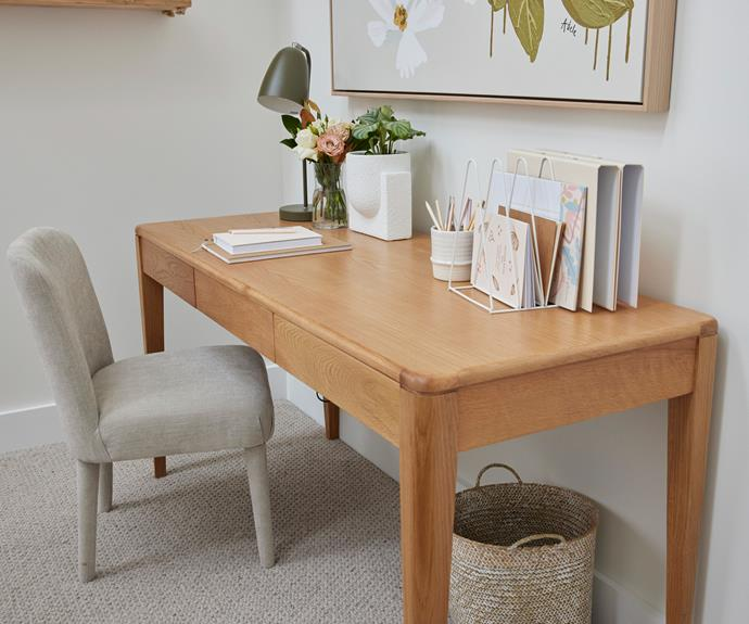 """A soft, neutral colour palette of olive green, sage and pale timbers. Desk, [Satara](https://www.satara.com.au/new-york-desk target=""""_blank"""" rel=""""nofollow""""). Lamp and Chair, [Freedom](https://www.freedom.com.au/ target=""""_blank"""" rel=""""nofollow"""")."""