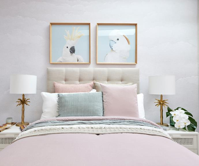 The new guest bedroom - a little bling but a little fun.  Lamps, [Precedence Interiors].