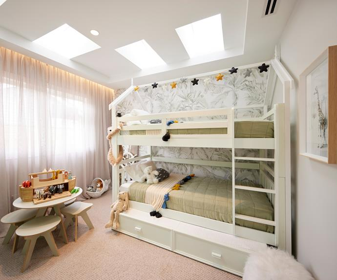 """Neale loved Mitch and Mark's beautifully decorated kids' room, saying he wished bedrooms looked like this when he was a kid. Bunk beds, [Forty Winks](https://www.fortywinks.com.au/products/bedroom-furniture/inca-ksb-bunk target=""""_blank"""" rel=""""nofollow""""). Table and chairs, [The Block Shop](https://www.theblockshop.com.au/product/the-play-set-2-round-jnr-stools/ target=""""_blank"""" rel=""""nofollow""""). Noah's Ark Toy, [Sandy Toys](https://sandytoys.com.au/products/everearth-large-wooden-noahs-ark?_pos=1&_sid=6e10425ee&_ss=r target=""""_blank"""" rel=""""nofollow"""")."""