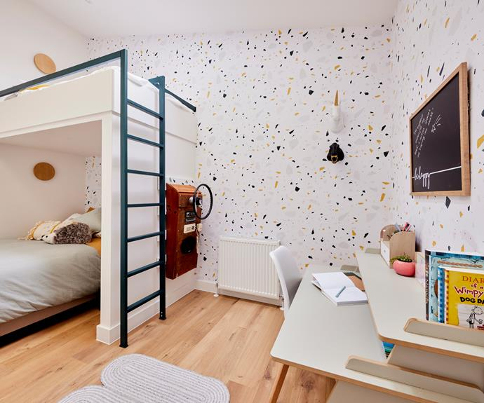 """Tanya and Vito created a self-contained little world that transported Neale to his own childhood. Wallpaper, [Graffico](https://www.grafico.com.au/product/terrazzo-type-1-wallpaper/ target=""""_blank"""" rel=""""nofollow""""). Wall hung sculptures, [The Block Shop](https://www.theblockshop.com.au/ target=""""_blank"""" rel=""""nofollow""""). Chalkboard and hedgehog cushion, [Kmart](https://www.kmart.com.au/ target=""""_blank"""" rel=""""nofollow"""")."""