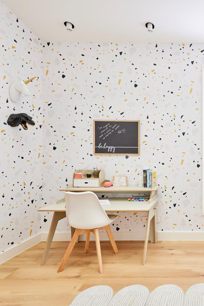 """Shaynna was not a fan of all the sharp edges and suggested softening the room with a plush chair or a generous rug.  Rug, [Rug Addiction](https://www.rugaddiction.com.au/products/squiggle-rug-grey?_pos=1&_sid=04e6b44f0&_ss=r target=""""_blank"""" rel=""""nofollow""""). Desk, [The Block Shop](https://www.theblockshop.com.au/product/the-essential-classic-classic-riser-desk/ target=""""_blank"""" rel=""""nofollow""""). Chair, [Freedom](https://www.freedom.com.au/product/23437449 target=""""_blank"""" rel=""""nofollow"""")."""