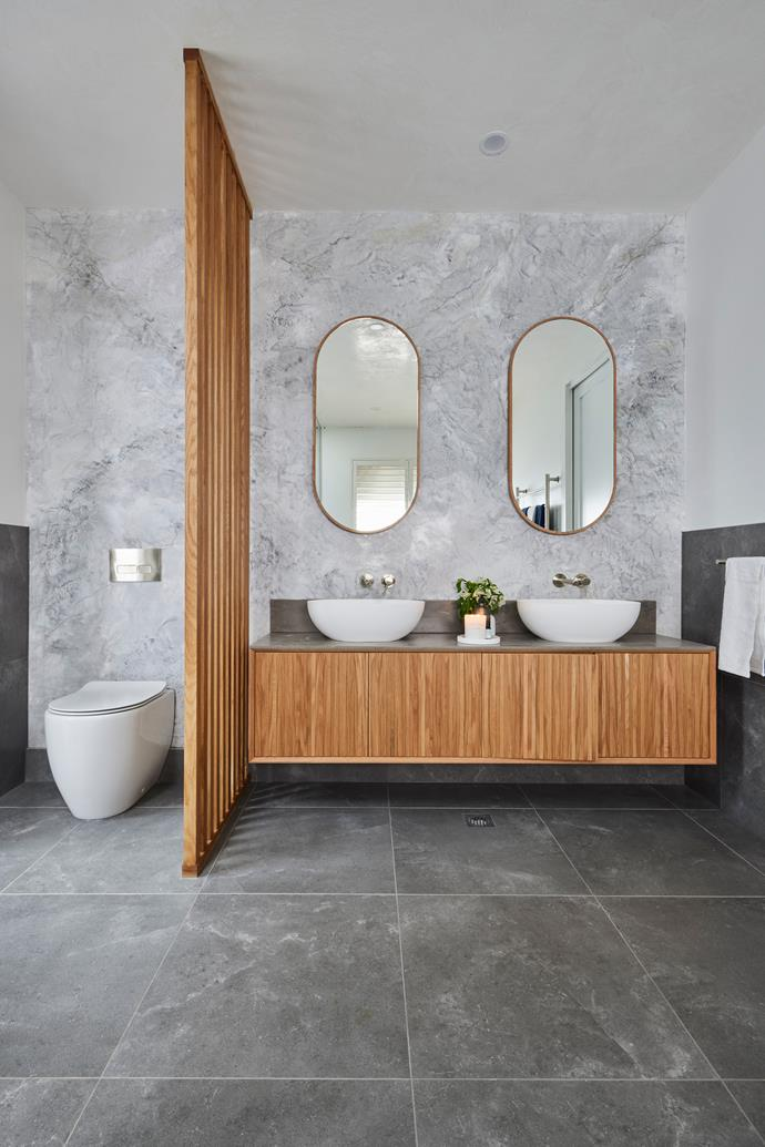 """The installation of a timber screen in Luke and Josh's redo bathroom failed to impress the judges. Zuster vanity, [Reece](https://www.reece.com.au/product/issy-halo-i-1800mm-x-450mm-x-450mm-vanity-2350506?query=Issy%20Halo%20I%20VU%204%20DR%20%26%20Int%20Shelf%201800x450 target=""""_blank"""" rel=""""nofollow"""")."""