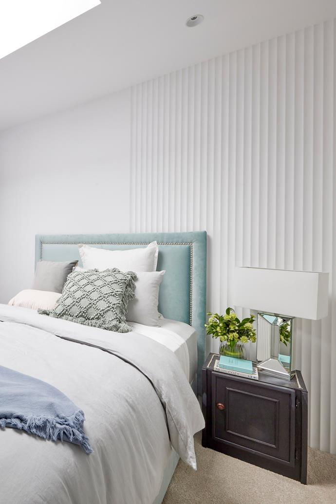 """Shaynna thought the asymmetric panelling was a misstep and was disappointed at the lack of design and ingenuity, saying it needed a redo. Custom bedhead, [The Block Shop](https://www.theblockshop.com.au/brand/martini-furniture/ target=""""_blank"""" rel=""""nofollow""""). Lamps, [The Block Shop.](https://www.theblockshop.com.au/product/lydia-mirror-block-table-lamp-by-black-mango/ target=""""_blank"""" rel=""""nofollow"""")"""