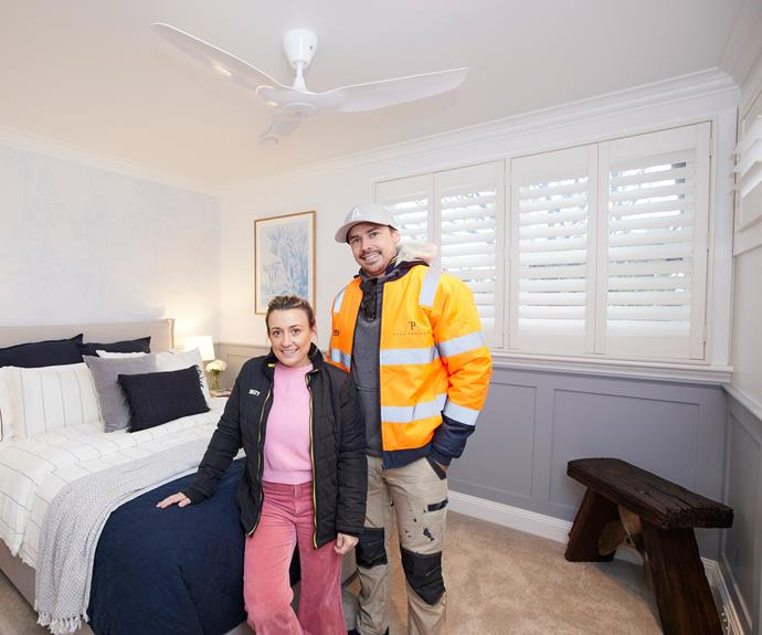 """For the redo Kirsty and Jesse chose their week one upstairs bedroom. Navy quilt, [L&M Home](https://www.lmhome.com.au/products/soho-quilt-navy?_pos=1&_sid=ca8735b8f&_ss=r target=""""_blank"""" rel=""""nofollow"""")."""