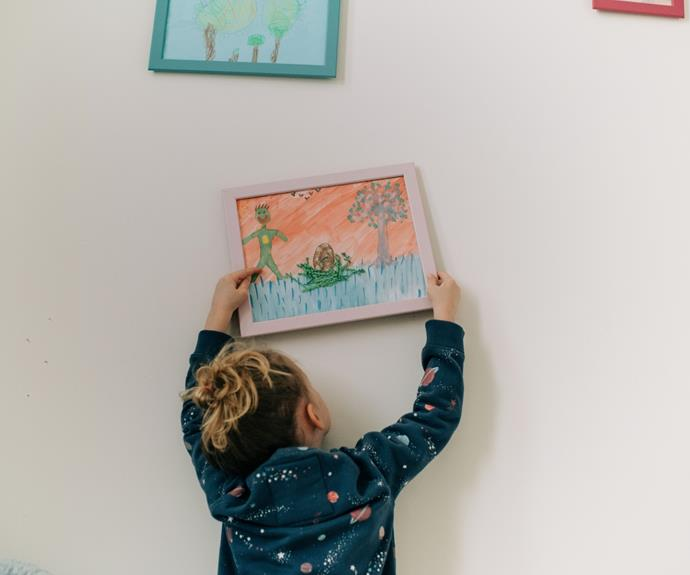 Kids wall art can come from within - curate, frame and hang the creations as they come.