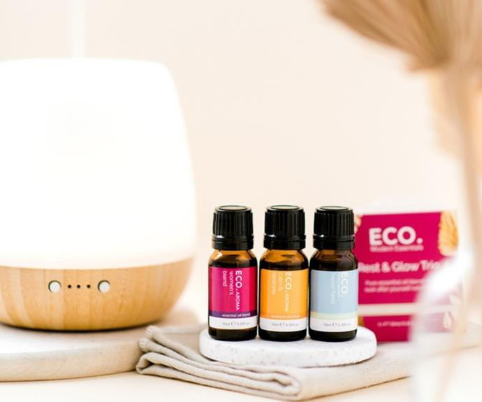 """**[ECO. Bliss diffuser with Rest & Glow trio collection, $105](https://www.theiconic.com.au/eco-bliss-diffuser-rest-glow-trio-collection-1296080.html