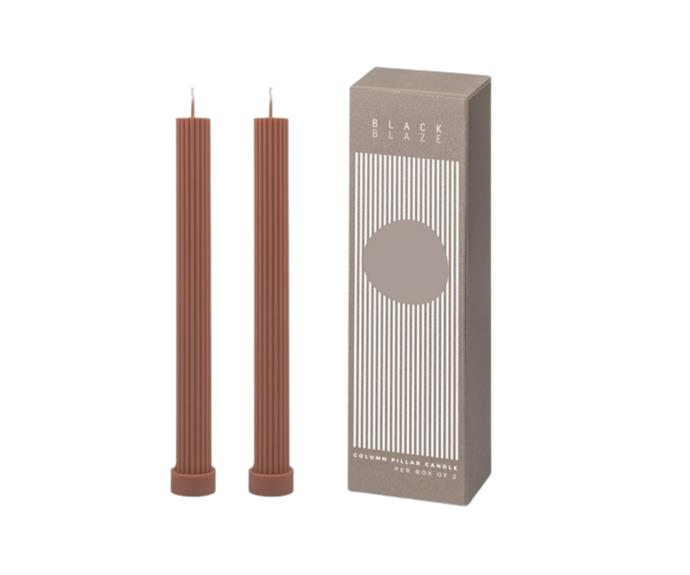 """**[Column pillar candle duo by Black Blaze in peach, $36](https://www.theiconic.com.au/column-pillar-candle-duo-1315020.html
