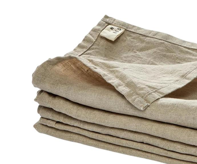 """**[Linen napkin set of four by INBED in natural, $45](https://www.theiconic.com.au/linen-napkin-set-1299362.html