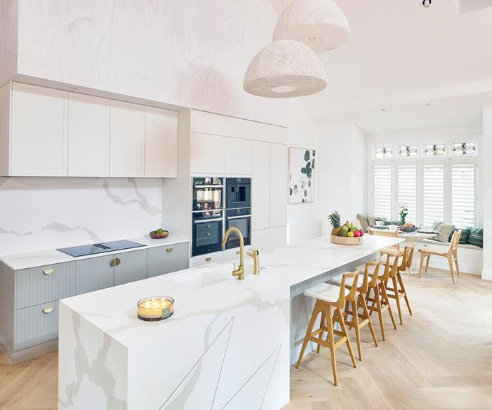 """Darren described Mitch and Mark's kitchen as """"modern traditional."""" TH Brown Danish bar stools from [The Block Shop](https://www.theblockshop.com.au/product/th-brown-danish-stool-clear-ash-various-seat-colours/