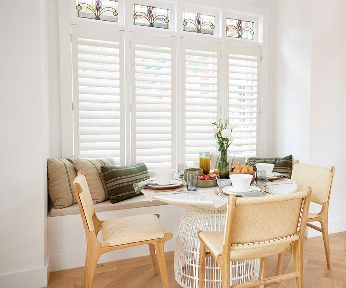 """The table in the breakfast nook is styled with a 'Haven' 12-piece dinner set from [Freedom](https://www.freedom.com.au/product/24341929
