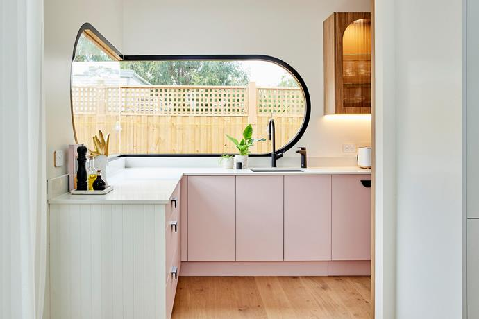 The judges loved the curved corner window in the butler's pantry.