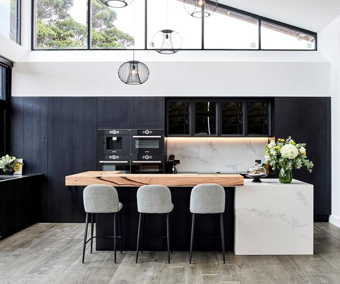 Pared-back, sleek and sexy were the words Neale used to describe Luke and Josh's kitchen.
