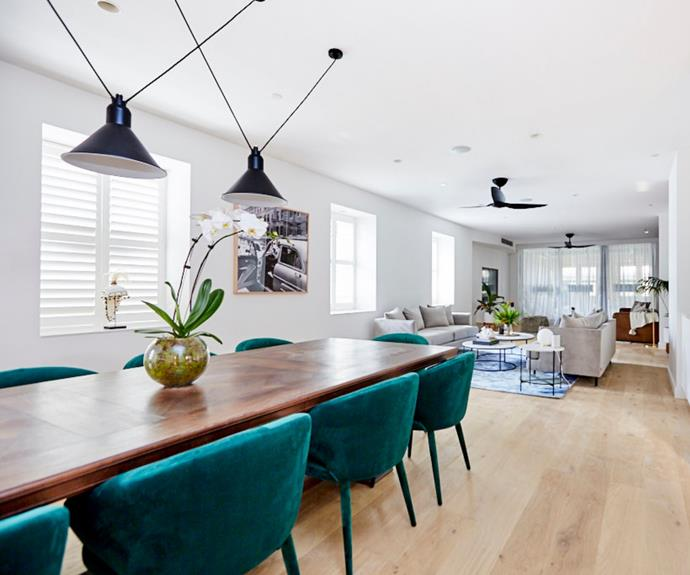 """**Courtney and Hans - The Block 2018** <br></br>  With plenty of room to work with, Courtney and Hans created a three-zone space, consisting of a [dining area, a formal living area, and a family room](https://www.homestolove.com.au/the-block-2018-living-and-dining-room-reveals-18942