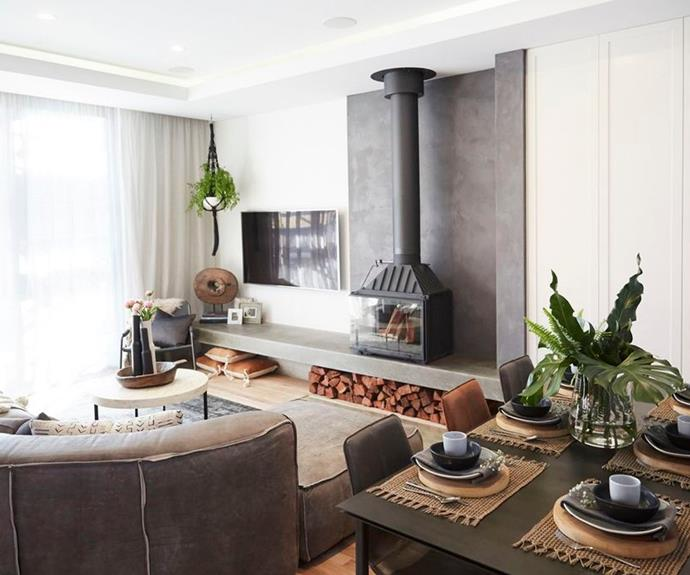 """**Josh and Elyse - The Block 2017**  <br></br>  The hero feature of Josh and Elyse's [living and dining room](https://www.homestolove.com.au/the-block-2017-living-and-dining-room-room-reveals-5668