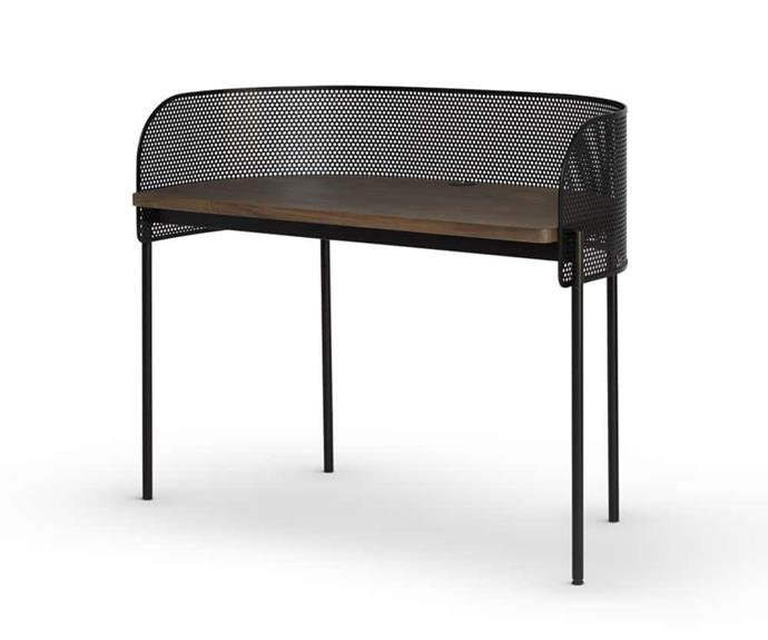 """**'Shelter' desk, $3337, [RJ Living](https://www.rjliving.com.au/buy-shelter-desk.html#