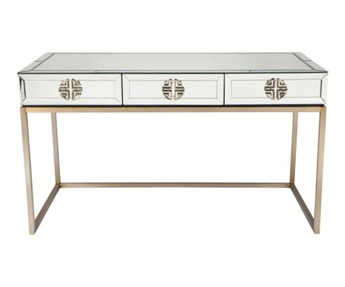 """**'Rochester' mirrored desk, $2640, [April & Oak](https://aprilandoak.com.au/rochester-mirrored-desk?sqr=desk&