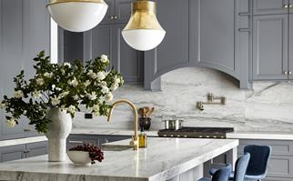 Classic grey shaker style kitchen with upper cabinets