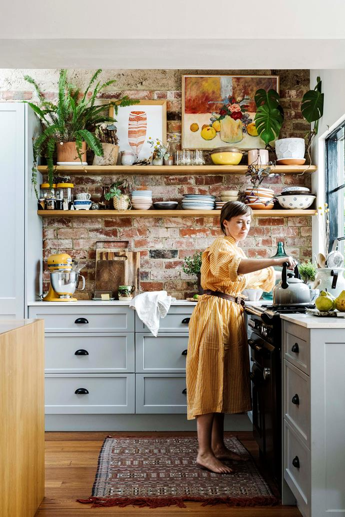 """""""We love open shelving as it's more room to display treasures,"""" says Emma."""