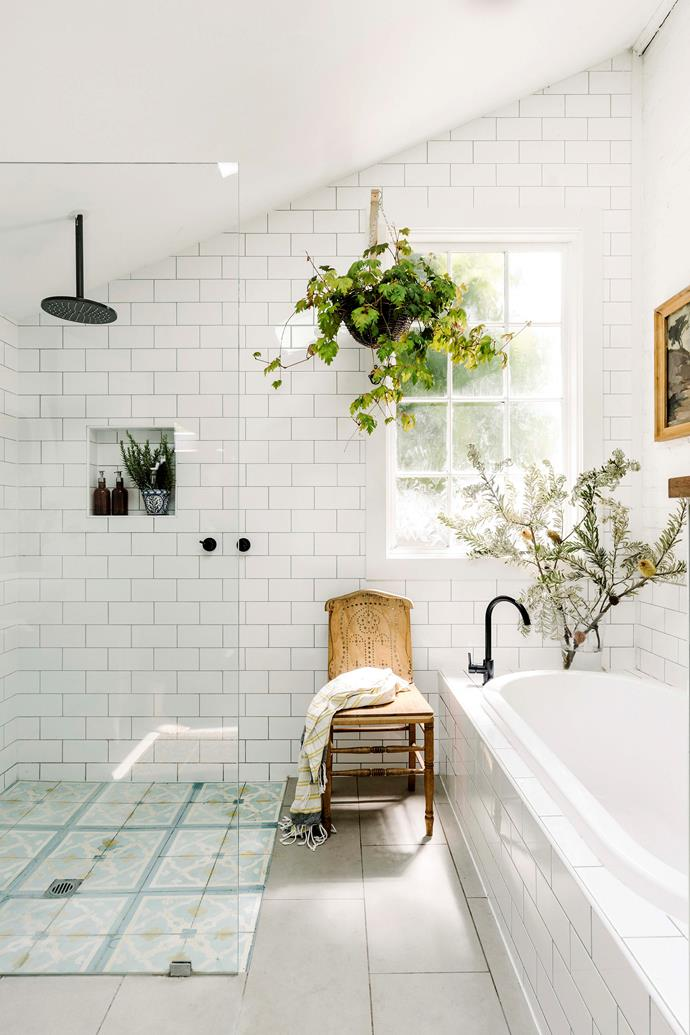Emma likes to add greenery in the bathroom. The chair was found at an op shop for $5.
