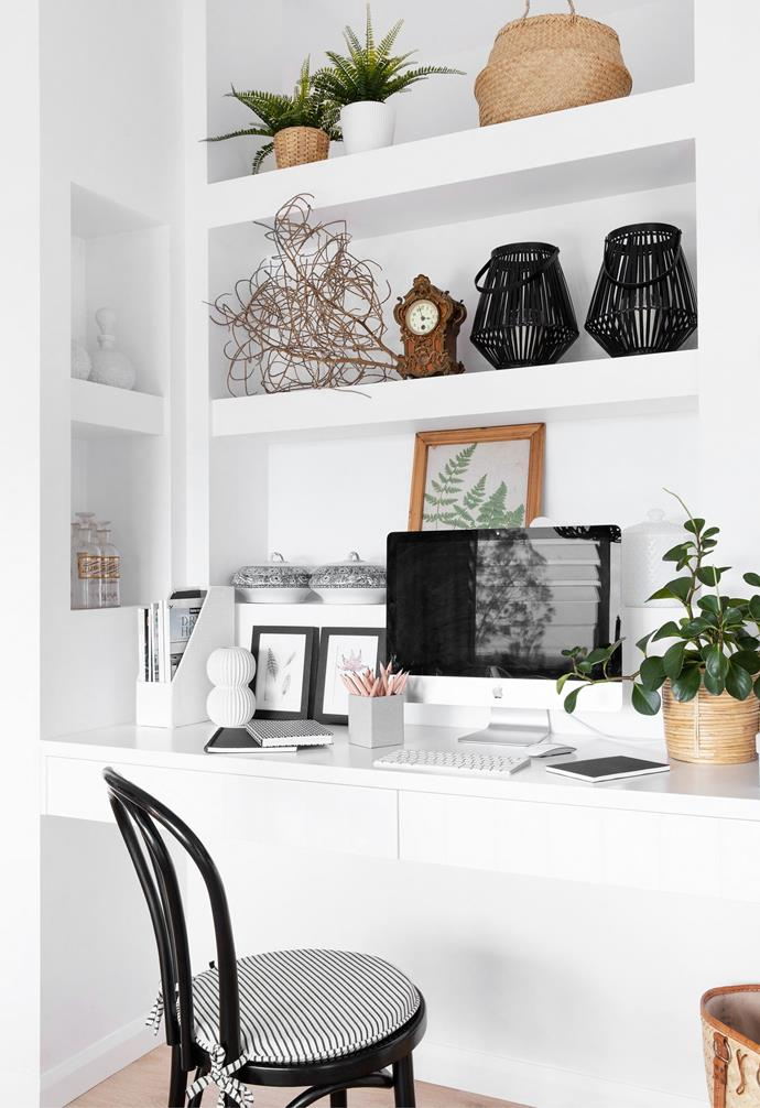 """Amber's [home office nook](https://www.homestolove.com.au/10-top-tips-to-set-up-and-style-your-home-office-22621