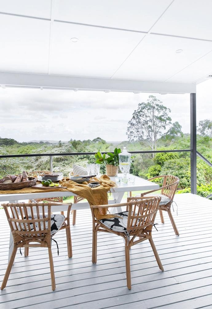 A table and chairs from The Furniture Shack set the scene to take in the views.