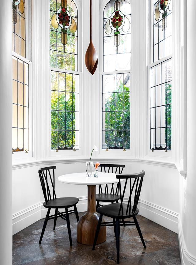 """The north-east facing turret in this restored [19th century villa in bayside Melbourne](https://www.homestolove.com.au/restored-19th-century-villa-20488 target=""""_blank"""") is the perfect spot to enjoy a morning coffee."""
