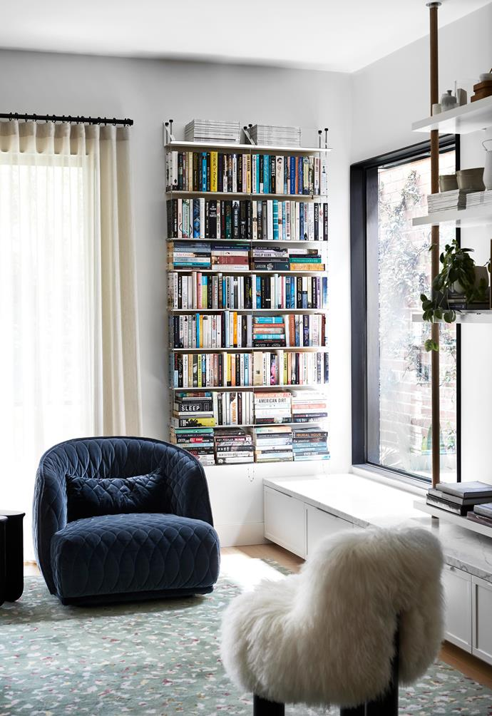 """**LIVING AREA** A deep-blue armchair by [Moroso](https://moroso.it/?lang=en