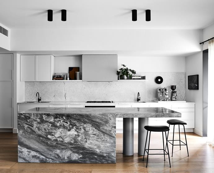 """**KITCHEN** The kitchen island is made with Brecciolino marble from [Corsi & Nicolai](https://www.cnanaturalstone.com/
