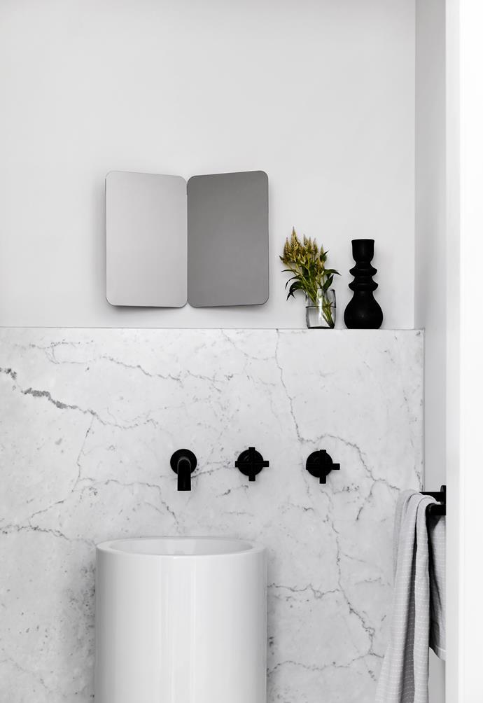 "**ENSUITE** Carrara marble was the splashout here. Sink and tapware, [Astra Walker](https://www.astrawalker.com.au/|target=""_blank""|rel=""nofollow"")."