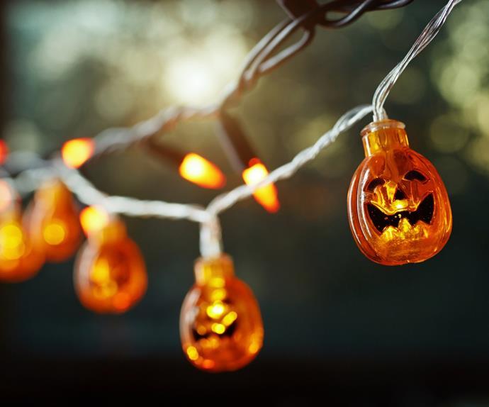 Close up of pumpkin fairy lights