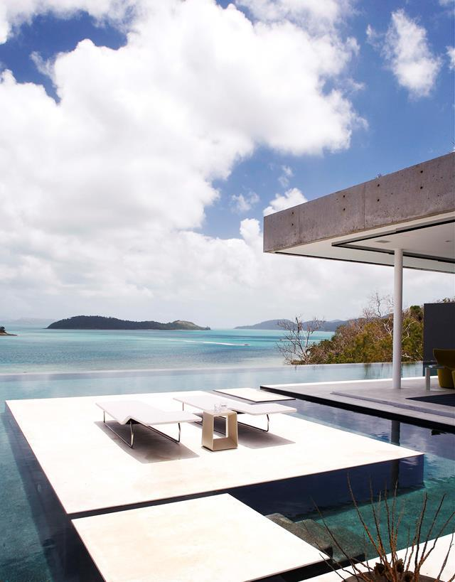 Sydney-based architect Renato D'Ettorre built this holiday home on Hamilton Island after having holidayed at the island's resorts for years, including an incredible infinity pool.