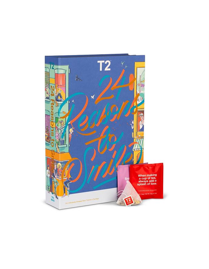 """**T2 24 Reasons to Smile Teabag Advent Calendar, $44.95, [David Jones](https://www.davidjones.com/Product/24290294/24-REASON-TO-SMILE-TEABAG-ADVENT-CALENDAR