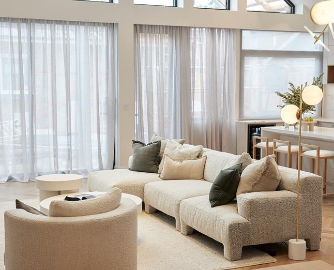 """A neutral base in the living room, with touches of olive and sage green in [accent cushions](https://www.eadielifestyle.com.au/collections/all/products/lynette-cushion-khaki?variant=40768748060861