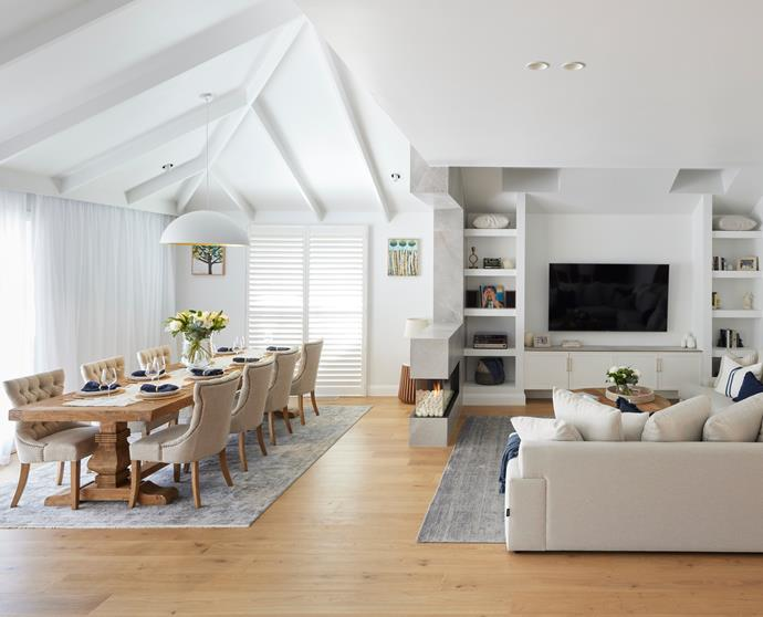 """Shaynna said Kirsty and Jesse's living area, """"Feels like the perfect family space."""" Dining chairs from [Schots](https://www.schots.com.au/windale-dining-chair-antique-white-kai18039.html