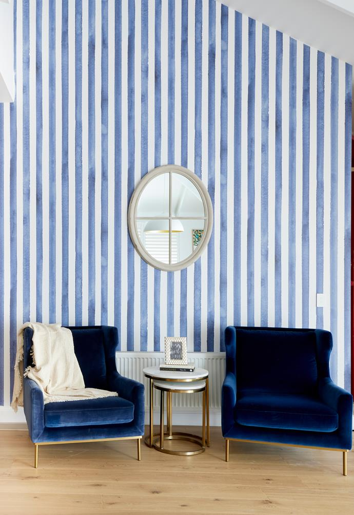 """An adjacent wall is [wallpapered](https://www.grafico.com.au/