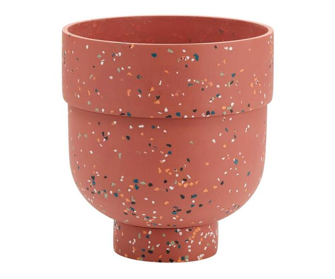 """The **[Rose Funnel terrazzo resin pot, $95](https://www.bunnings.com.au/warlukurlangu-16cm-womens-dreaming-2-cement-planter_p0262528 target=""""_blank"""" rel=""""nofollow"""")**, which is perfect for housing palms and [Monstera plants](https://www.homestolove.com.au/monstera-deliciosa-care-tips-6683 target=""""_blank""""), was designed in Melbourne by Capra Designs. It is available in four colours including white, gum leaf green, rose and stone."""