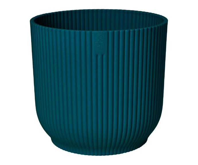 """Elho's lightweight pots are made from recycled plastic using 100% wind power. This design, **[Deep Blue Vibes round recycled plastic pot, $32.98](https://www.bunnings.com.au/elho-22cm-deep-blue-vibes-round-recycled-plastic-pot_p0265620 target=""""_blank"""" rel=""""nofollow"""")**, features a fluted, softly curved exterior. Perfect for trendy indoor plants including peperomia and peace lily."""