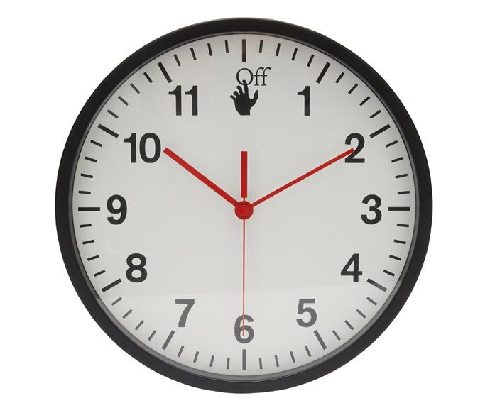 Off-White HOME wall clock, $650.