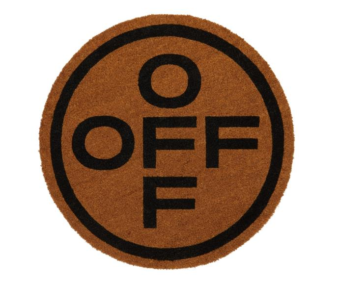 Off-White HOME 'Off' circle doormat, $220.