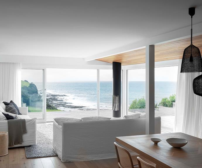 Floor-to-ceiling glazing makes the most of the seaside views.