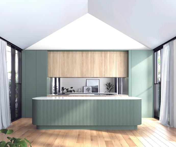 """Ticking all of the trend boxes are soft tones, curved edges and [contoured timber](https://www.porta.com.au/porta-contours-2/