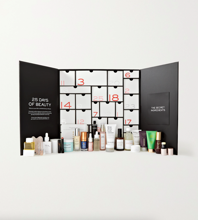 """**Advent Calendar, $401, [Net-A-Porter](https://www.net-a-porter.com/en-au/shop/product/net-a-porter/beauty/beauty-sets/25-days-of-beauty-advent-calendar/25185454456530071