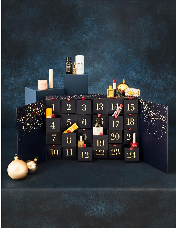 """**Beauty Advent Calendar, $200, [David Jones](https://www.davidjones.com/product/24529758?cm_mmc=exacttarget-_-CRM+1H22+WK15+BT+SPF-_-7278732-_-CRM+1H22+WK15+BT+SPF+ADVENT&utm_source=EMAIL&utm_medium=CRM+1H22+WK15+BT+SPF&utm_term=7278732&utm_content=CRM+1H22+WK15+BT+SPF+ADVENT&utm_campaign=7278732&sfmc_j=7278732&sfmc_s=199099900&sfmc_l=134&sfmc_jb=2001&sfmc_mid=6391707&sfmc_u=204032055