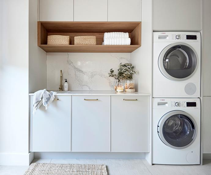 The judges praised Ronnie and Georgia's neutral laundry for its ample storage space and considered layout.