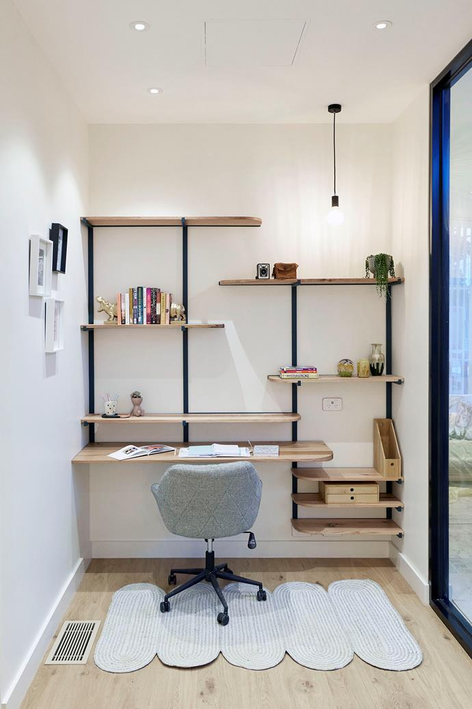 Tanya and Vito included a study nook in their hallway. The judges loved the mid-century inspired wall unit.